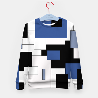 Thumbnail image of Abstract geometric pattern - blue, black and white. Kid's sweater, Live Heroes