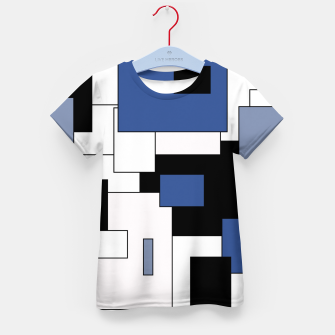 Thumbnail image of Abstract geometric pattern - blue, black and white. Kid's t-shirt, Live Heroes