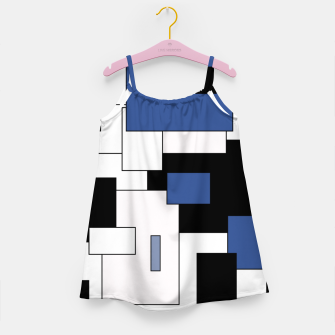 Thumbnail image of Abstract geometric pattern - blue, black and white. Girl's dress, Live Heroes