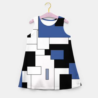 Thumbnail image of Abstract geometric pattern - blue, black and white. Girl's summer dress, Live Heroes