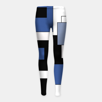 Thumbnail image of Abstract geometric pattern - blue, black and white. Girl's leggings, Live Heroes