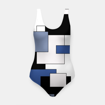 Thumbnail image of Abstract geometric pattern - blue, black and white. Swimsuit, Live Heroes