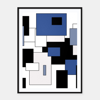 Thumbnail image of Abstract geometric pattern - blue, black and white. Framed poster, Live Heroes