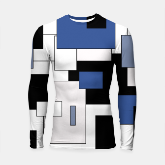 Thumbnail image of Abstract geometric pattern - blue, black and white. Longsleeve rashguard , Live Heroes