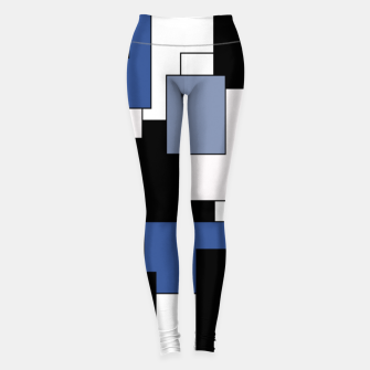 Thumbnail image of Abstract geometric pattern - blue, black and white. Leggings, Live Heroes