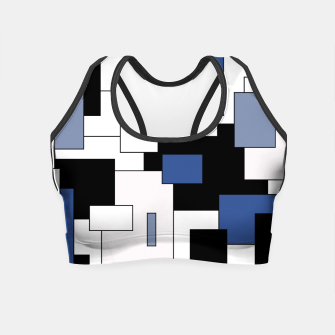 Thumbnail image of Abstract geometric pattern - blue, black and white. Crop Top, Live Heroes