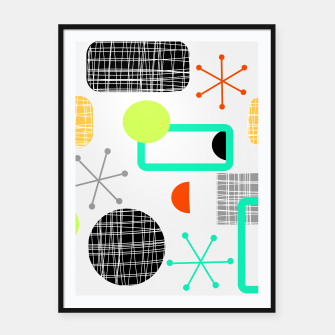 Thumbnail image of Geometric Funky Colorful Bold Design Framed poster, Live Heroes