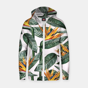 Thumbnail image of Bird Of Paradise Pattern  Cotton zip up hoodie, Live Heroes
