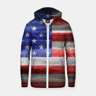 Thumbnail image of American Flag Grunge Wave Cotton zip up hoodie, Live Heroes