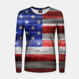 Miniatur American Flag Grunge Wave Woman cotton sweater, Live Heroes