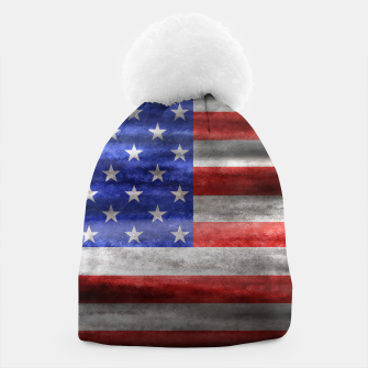 Thumbnail image of American Flag Grunge Wave Beanie, Live Heroes