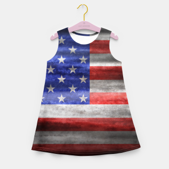 Thumbnail image of American Flag Grunge Wave Girl's summer dress, Live Heroes