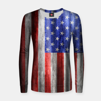 Thumbnail image of American Flag Grunge Wave Woman cotton sweater, Live Heroes