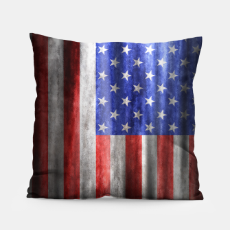 Thumbnail image of American Flag Grunge Wave Pillow, Live Heroes