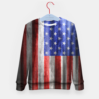 Thumbnail image of American Flag Grunge Wave Kid's sweater, Live Heroes