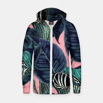 Thumbnail image of Tropical Flower Pattern Cotton zip up hoodie, Live Heroes