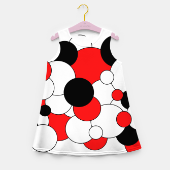 Miniatur Abstract pattern - red, black and white. Girl's summer dress, Live Heroes