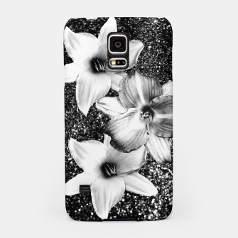 Thumbnail image of White Lilies on Black Glitter #1 #floral #decor #art Handyhülle für Samsung, Live Heroes