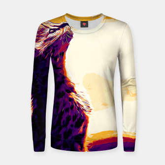 Thumbnail image of gxp serval cat vector art late sunset Woman cotton sweater, Live Heroes