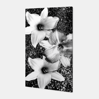 Thumbnail image of White Lilies on Black Glitter #1 #floral #decor #art Canvas, Live Heroes