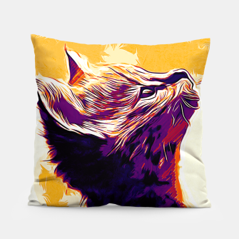 Miniatur gxp serval cat vector art late sunset Pillow, Live Heroes