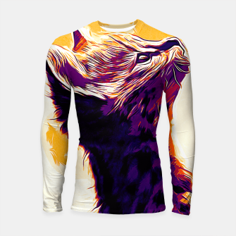 Thumbnail image of gxp serval cat vector art late sunset Longsleeve rashguard , Live Heroes