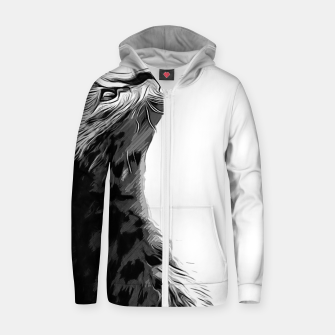Miniature de image de gxp serval cat vector art black white Cotton zip up hoodie, Live Heroes
