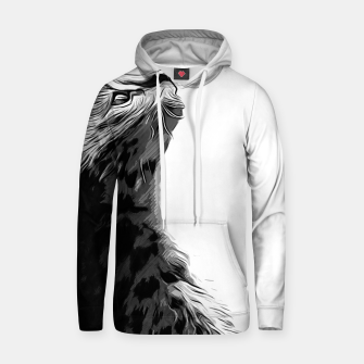 Miniature de image de gxp serval cat vector art black white Cotton hoodie, Live Heroes