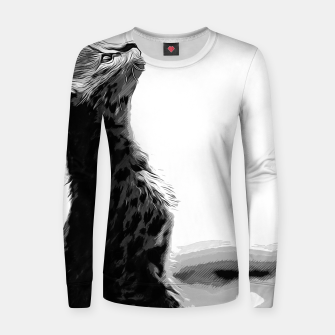 Thumbnail image of gxp serval cat vector art black white Woman cotton sweater, Live Heroes