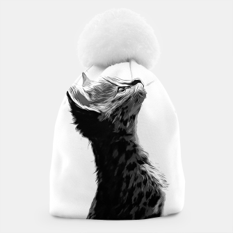Thumbnail image of gxp serval cat vector art black white Beanie, Live Heroes