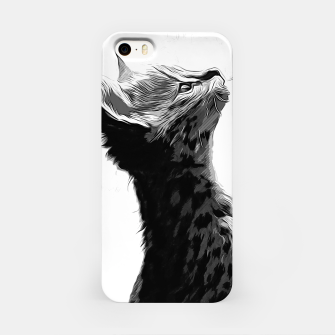 Thumbnail image of gxp serval cat vector art black white iPhone Case, Live Heroes