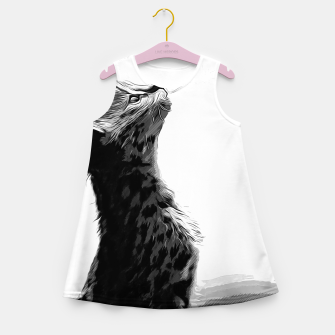 Miniature de image de gxp serval cat vector art black white Girl's summer dress, Live Heroes