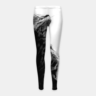 Miniature de image de gxp serval cat vector art black white Girl's leggings, Live Heroes