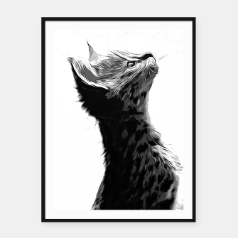 Miniature de image de gxp serval cat vector art black white Framed poster, Live Heroes