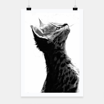 Thumbnail image of gxp serval cat vector art black white Poster, Live Heroes
