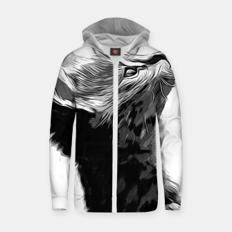 Thumbnail image of gxp serval cat vector art black white Cotton zip up hoodie, Live Heroes