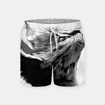 Miniature de image de gxp serval cat vector art black white Swim Shorts, Live Heroes