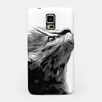 Miniature de image de gxp serval cat vector art black white Samsung Case, Live Heroes