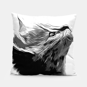 Miniatur gxp serval cat vector art black white Pillow, Live Heroes