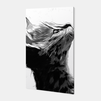 Miniature de image de gxp serval cat vector art black white Canvas, Live Heroes