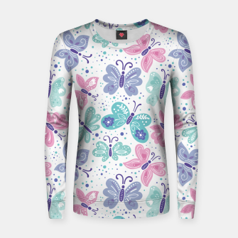 Miniatur Pink, teal and blue butterflies Woman cotton sweater, Live Heroes