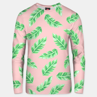 Imagen en miniatura de Pink Block Palm Leaf Print Cotton sweater, Live Heroes