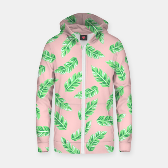 Imagen en miniatura de Pink Block Palm Leaf Print Cotton zip up hoodie, Live Heroes