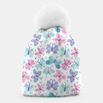 Thumbnail image of Pink, teal and blue butterflies Beanie, Live Heroes