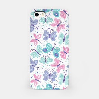 Thumbnail image of Pink, teal and blue butterflies iPhone Case, Live Heroes