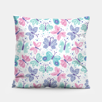 Miniatur Pink, teal and blue butterflies Pillow, Live Heroes