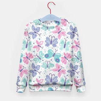 Miniatur Pink, teal and blue butterflies Kid's sweater, Live Heroes