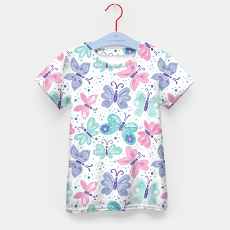 Thumbnail image of Pink, teal and blue butterflies Kid's t-shirt, Live Heroes