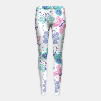 Thumbnail image of Pink, teal and blue butterflies Girl's leggings, Live Heroes