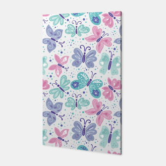 Thumbnail image of Pink, teal and blue butterflies Canvas, Live Heroes